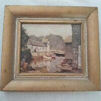 Vintage Anthony Thieme Rockport Canvas Print Marina Boatyard Maine Dutch Artist