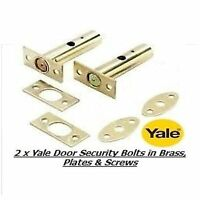 2 x YALE DOOR SECURITY BOLTS, RACK BOLTS BRASS FINISH - NEW