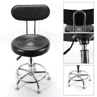 Set of 2 Counter Height PU Leather Bar Stools Adjustable Swivel Pub Chairs Black