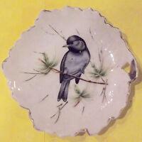 Ancienne soucoupe ramasse monnaie feuille oiseaux porcelaine vintage