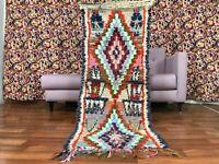 "Vintage Moroccan handmade 2'1""x 5'5"" Bohemian Berber Geometric Colorful Runner"
