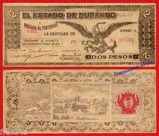 MEXICO ESTADO DE DURANGO 2 Pesos 1913 Pick S750 MBC  /  VF