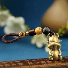 Brass Zodiac Bull Figure Rope Keyring Hanging  Copper Cute Cow Calf PendanYU