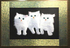 Beautiful Handmade Finished Embroidery of Three White Cats