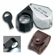 10x Magnification Magnifier Jeweler Loupe  21mm Triplet Lens 6 LED Light