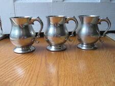 Three Wentworth Vintage Pewter Tankard Mugs