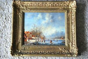 """Pair of Dutch Winter Landscapes Paintings Signed  """"P. Harris"""""""
