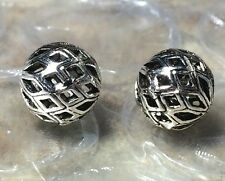 THAI .925 STERLING SILVER VINTAGE 10mm ROUND CARVED FOCAL BEAD #1735 - (1)