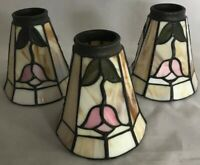 """Lot of 3 Leaded Stained Glass 5.25"""" X 5"""" Tiffany Style Lamp Shades Collectibles"""