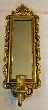 Vintage Homco Candle Holder Sconce Mirror Frame Palm Shell Ornate Scrolling Gold