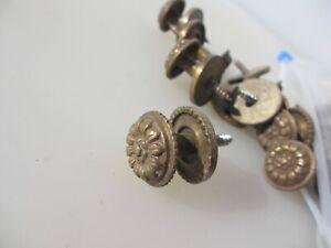 Vintage Brass Cabinet Knob Drawer Handle Pull Old Cupboard Beading Flower - £5ea