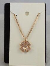 Fossil Brand Glitz Rose Goldtone Signature Pave' Flower Charm Necklace JF00863