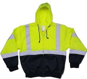5X Hi Vis Hoodie Sweatshirt Reflective Safety Class 3 HIGH VISIBILITY