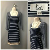 Klass Collection Navy Mix Striped Square Neck Shift Dress UK 14 EUR 40 US 10