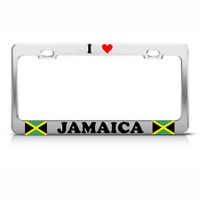 I LOVE HEART JAMAICA Chrome Steel Heavy Duty Metal License Plate Frame Tag