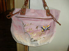PEACE LOVE JUICY COUTURE PINK OMBRE VELOUR HANDBAG  NWT