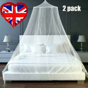 2x UK Mosquito Net Canopy Fly Insect Protect Single Entry For Double King Bed