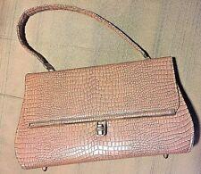 True Vintage Crocodile Pattern Tan 1 Strap Mid Century 1950's New Handbag W FEET