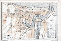 76 Dieppe 1899 pt. plan ville orig. + guide angl. (4 p.) Casino La Plage bains