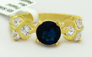 BLUE SAPPHIRE 1.16 Cts & WHITE SAPPHIRES RING 14k GOLD PLATED NWT SIZE 10
