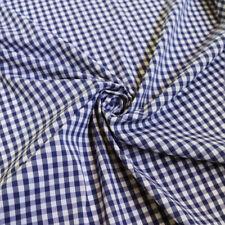 1Yard*140cm Thin Men Shirt Fabric Elastic Cotton Nylon Gingham Navy Plaid