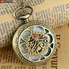 Antique Octopus Necklace Pendant Quartz Pocket Watch Vintage Bronze Steampunk A