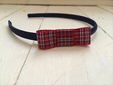 Navy Blue Satin Girls Hairband Headband Alice Band Burgundy Tartan Bow