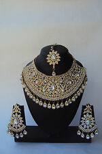 Indian Bollywood Style Gold Plated Ethnic Fashion Bridal Jewelry Necklace Set
