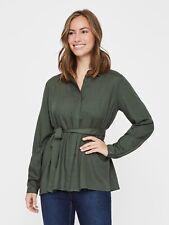 NEW Mamalicious Maternity Nursing Shirt Blouse Tunic Khaki Work £30 RRP Size 14