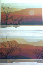 Pair WESTERN MOUNTAIN DESERT LANDSCAPE LIMITED EDITION SIGNED LITHOGRAPHS 30x22