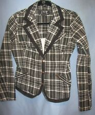 TRIPP NYC sz Med Black/White Plaid Jacket Blazer Snap buttons Goth Rave Cosplay