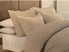 Dormisette Luxury Flannel Cream Striped Linen Color Queen Duvet Cover Set