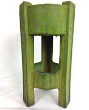 "ROSEVILLE 20 3/4"" MAT GREEN ROUND FLORAL THREE LEGGED PEDESTAL Circa 1908"