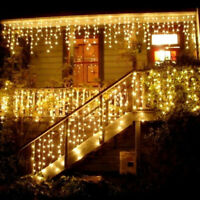 1M 10 LED Icicle Hanging Snowing Curtain String Fairy Lights Xmas Wate ADF
