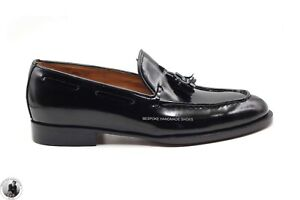Handmade Men's Genuine Black Patent Leather Loafers & Slip On Tassels Shoes