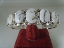 Sacred Buffalo White Turquoise Bracelet .925 Sterling Signed By Running Bear RB