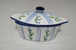 Butter Boat Porcelain Vintage Cook Street Butter Crock Blueberry Bush Vine