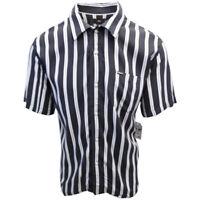 OBEY Men's Black & Indigo Vertical Striped S/S Shirt (Retail $59.99) S09
