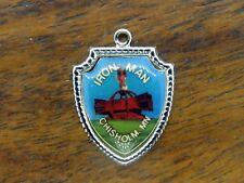 State Travel Shield charm #E11 Vintage silver Iron Man Chisholm Minnesota