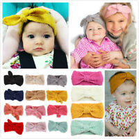Knitted Baby Toddler Girls Kids Bow Knot Turban Headband HairBand Headwrap 0-3yr