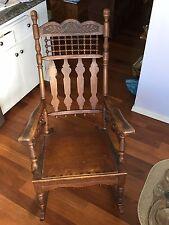 Antique Oak Rocking Chair Rocker w oak leaf carving and acorn details - UNIQUE