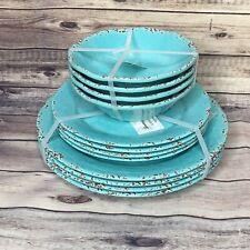 12pc Tommy Bahama Melamine Dinner Salad Plate Bowls Set Turquoise Rustic Crackle