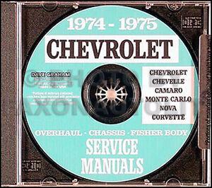 1974 1975 Chevy CD Shop Manual Set Camaro Nova Corvette Impala Caprice Bel Air
