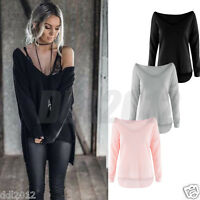 Fashion Womens Off Shoulder Long Sleeve Loose Knitted Sweater Jumper Tops Blouse
