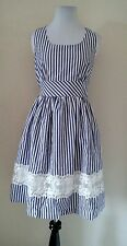 Modcloth Maine Attraction Dress MEDIUM Yellow Star White/Blue A-line Retro NWOT