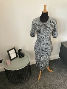 KAREN MILLEN Grey Bodycon Wiggle Jumper Dress Size 3 (UK Size 12) RRP £135