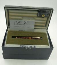 PARKER DUOFOLD 18K GOLD NIB MARBLED MAROON FTN PEN M NEW IN BOX RARE