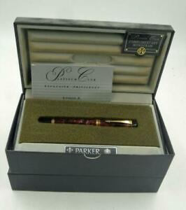 PARKER DUOFOLD 18K GOLD NIB MARBLED MAROON FTN PEN M NEW IN BOX RARE