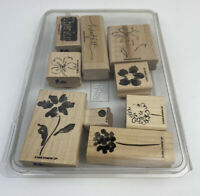 Stampin Up 'Heartfelt Thanks' Two Step Wood Set Of 9 Flowers Retired