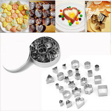 24 X Cutter Stainless Steel Slicer Geometric Shapes Mini Kitchen Cookie Moulds